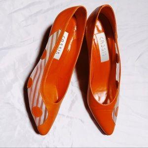 Vintage Orange Polka Dot Mesh Heels Pumps Shoes